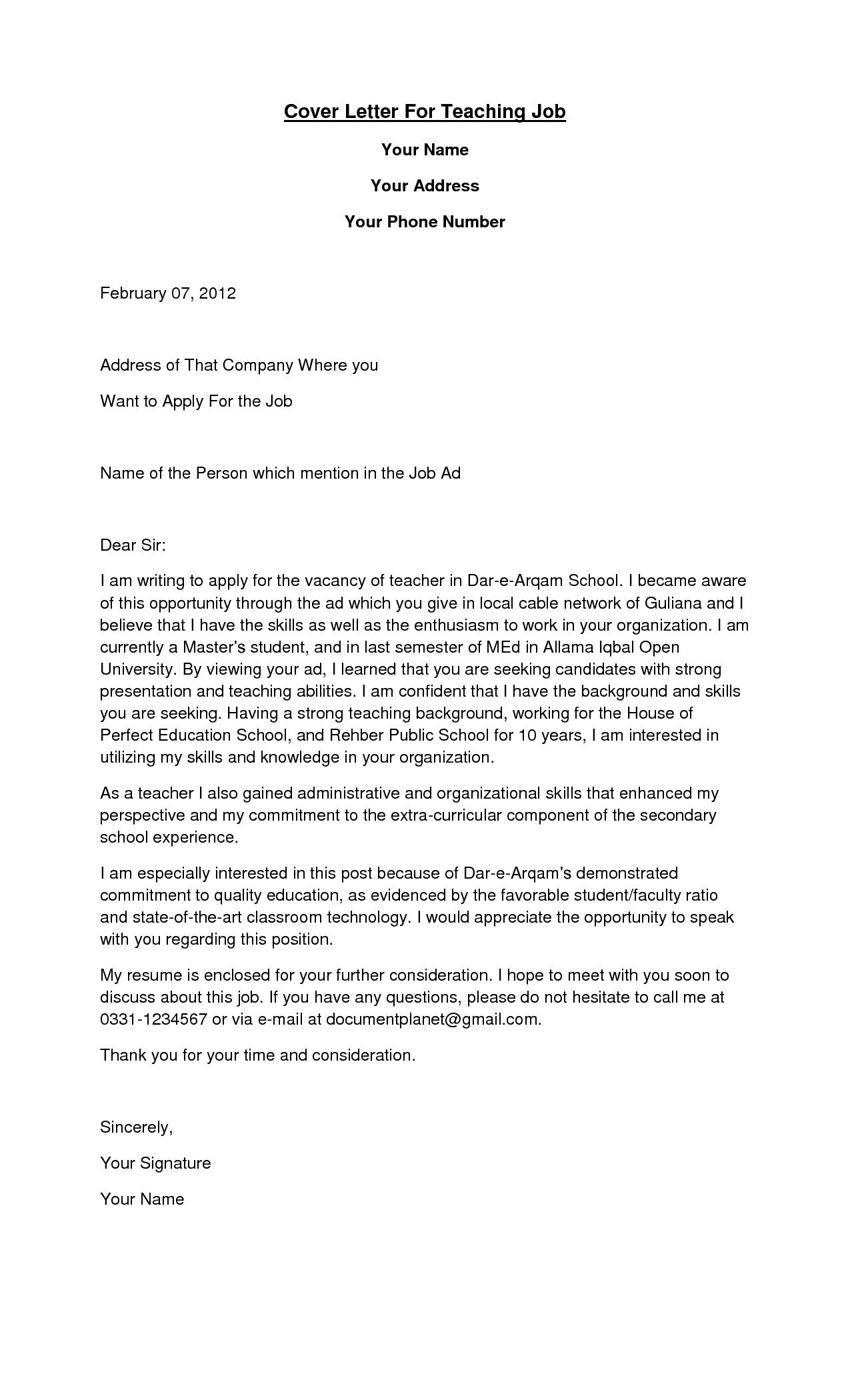 Cover Letters for teachers Cover letter teacher, Letter