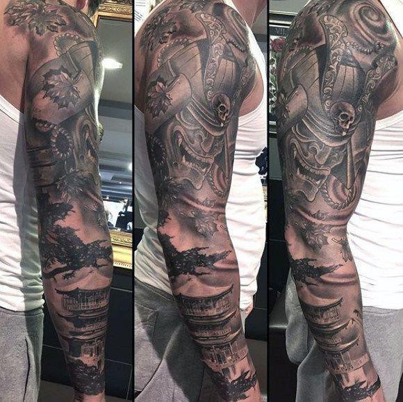 0b20a235cd971 Manly Samurai Mask And Japanese Castle Full Sleeve Black Work Tattoo For  Guys