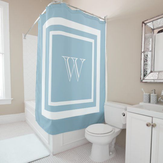 Aquamarine Blue White Framed Monogram Shower Curtain | Elegant and simple white monogram in a square double frame on an aquamarine blue background. Personalize with your own initial.