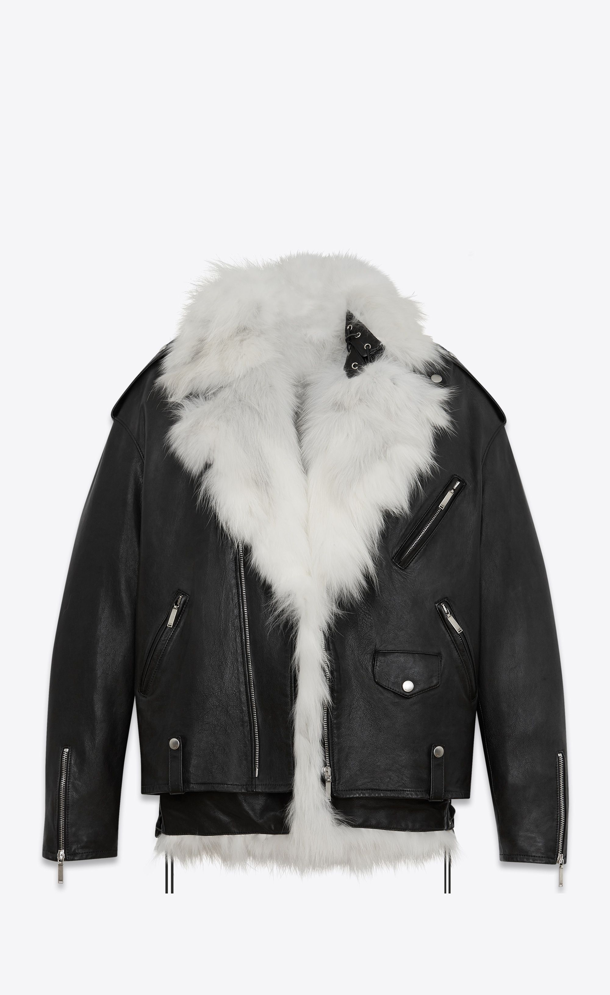 dea1f56ac31  Saint Laurent - Oversized motorcycle jacket in black leather with  removable white faux fox fur lining ($9,900)