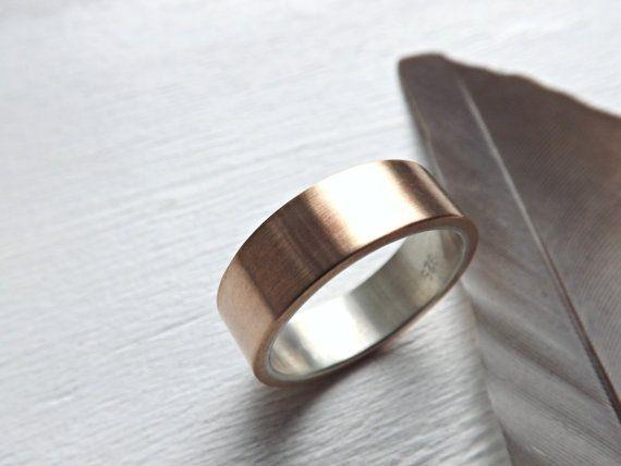 Mens Wedding Band Bronze Wedding Ring Mens Ring Silver Bronze Rustic Wedding Band Silver Bronze Ring Rustic Mens Ring Anniversary Gift Bronze Wedding Rings For Men Mens Wedding Bands