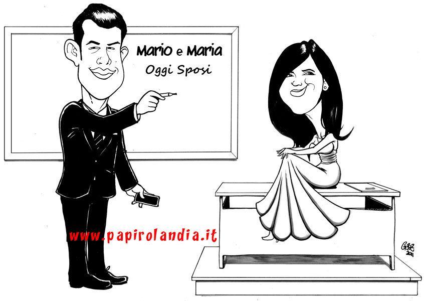 Top caricatura degli sposi per cartellone segnaposti #matrimonio  AT86