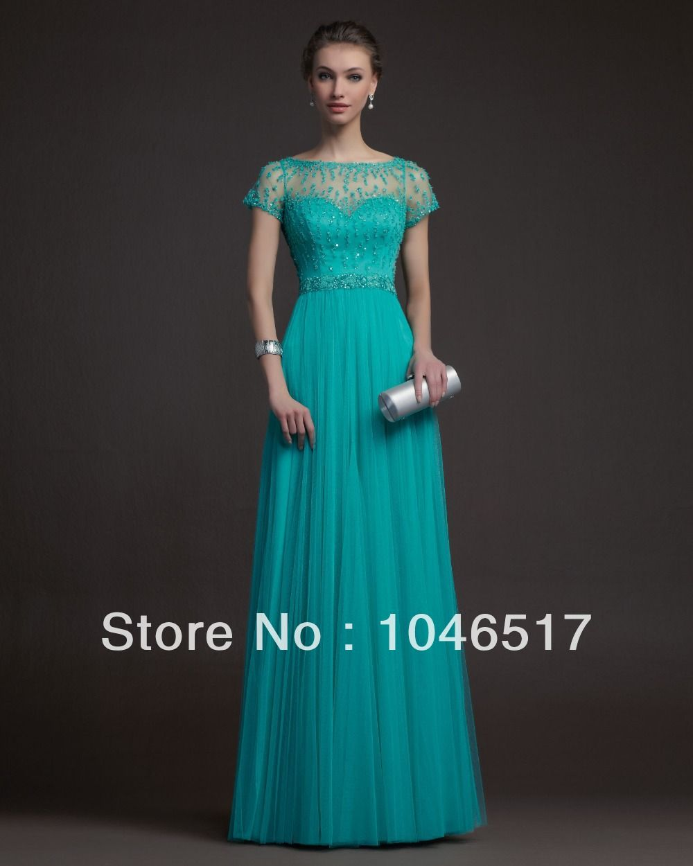 Free Shipping Teal Tulle Long Elegant Evening Dress Prom Formal ...