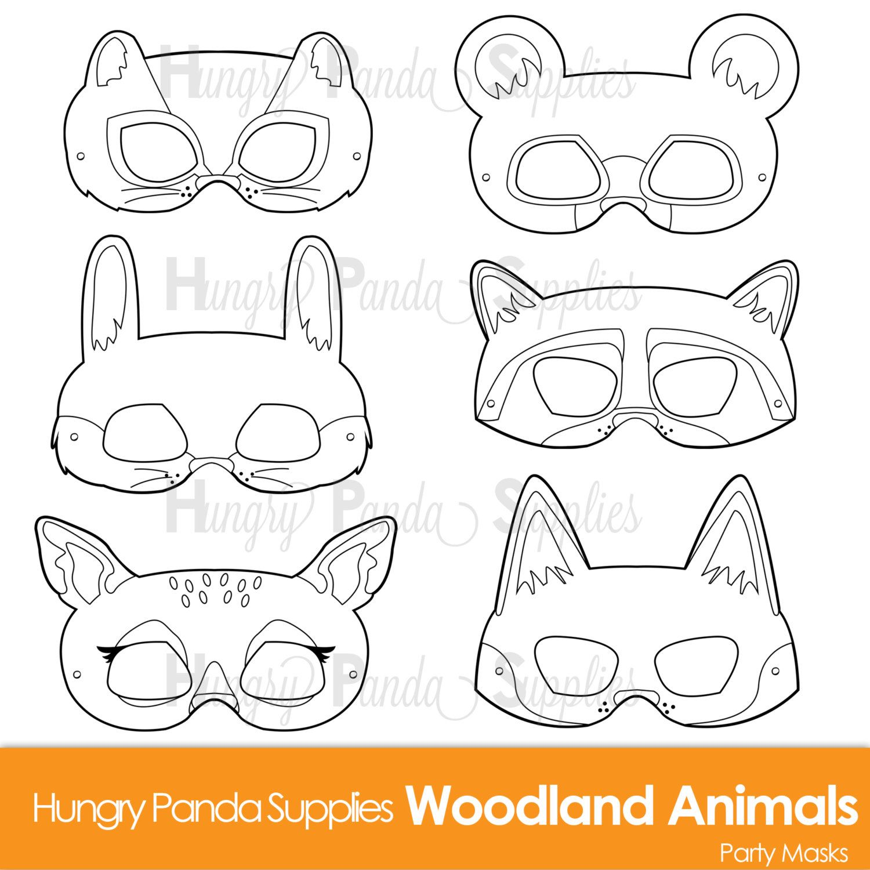 Woodland Forest Animals Coloring Masks Woodland Animal Mask Bear Mask Fox Mask Raccoon Mask