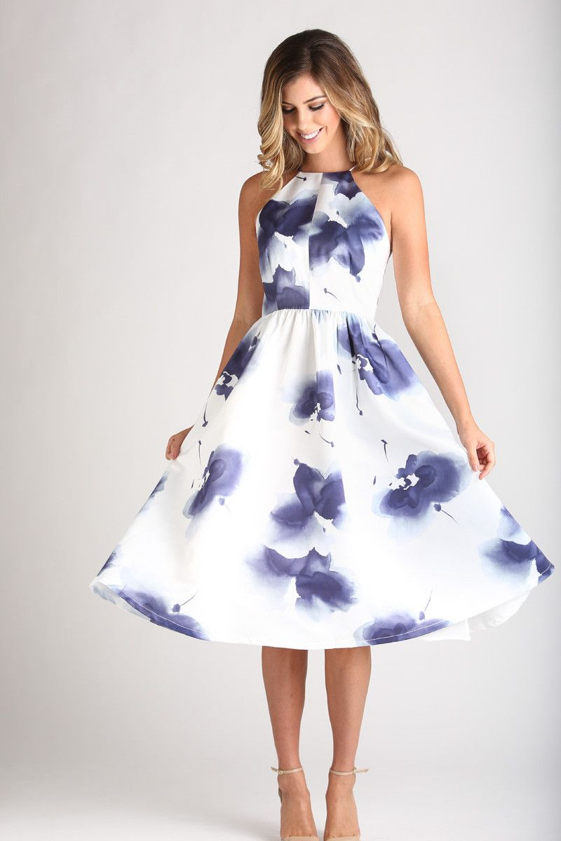 Renee White And Navy Floral Halter Dress Fashionista Dresses