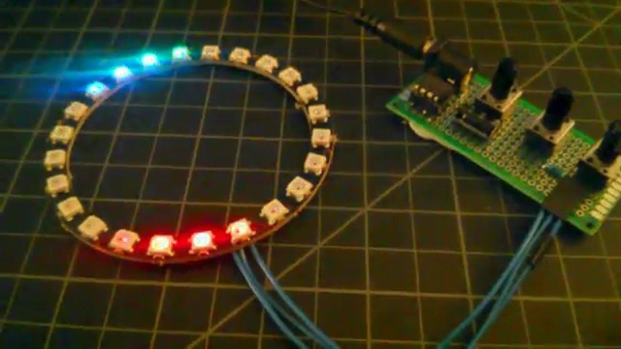 """Hardware """"AJAX Loader"""" using an Attiny85, 3 potentiometers and a 24 RGB ..."""