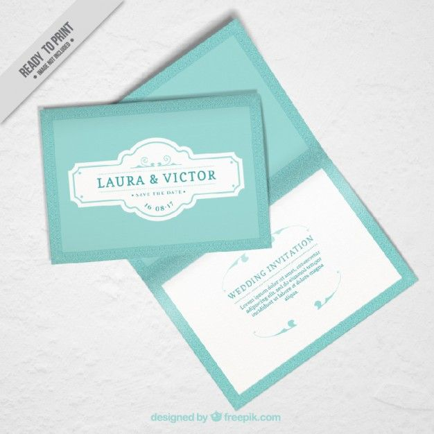 mockup of wedding invitation in vintage design Free Vector wedding - new certificate vector free