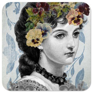 Vintage Lady | Vintage Lady Woman Drawing Background Art Collage