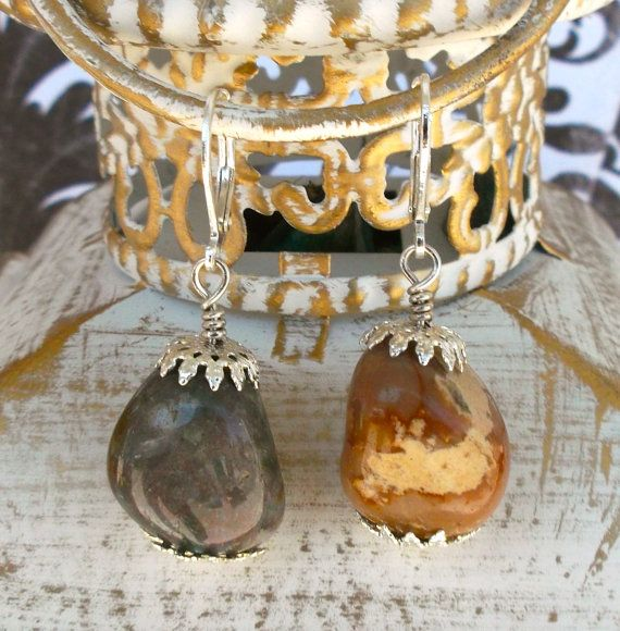 River rock dangle earrings on Etsy, $7.00