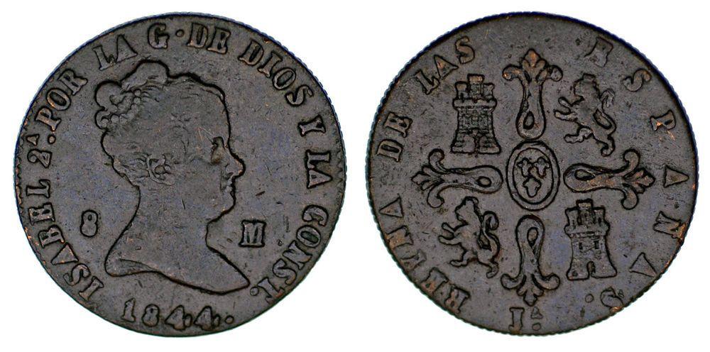 8 Copper Maravedís Cobre Isabella Ii Isabel Ii 1844 Jubia Vf Mbc Monedas Moneda Española Billetes