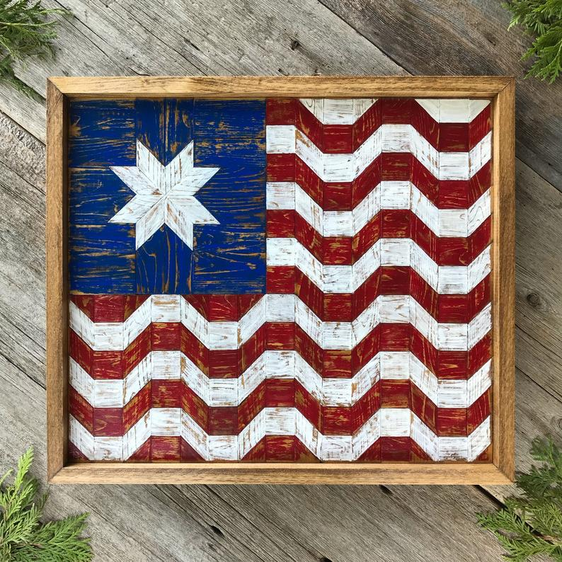 Barn Quilt Wood Wall Art With American Flag Pattern Wooden Barn Quilts Wood Quilt Blocks Rustic Home Decor Americana Folk Art Red Blue In 2020 Barn Quilt Barn Quilts Wood