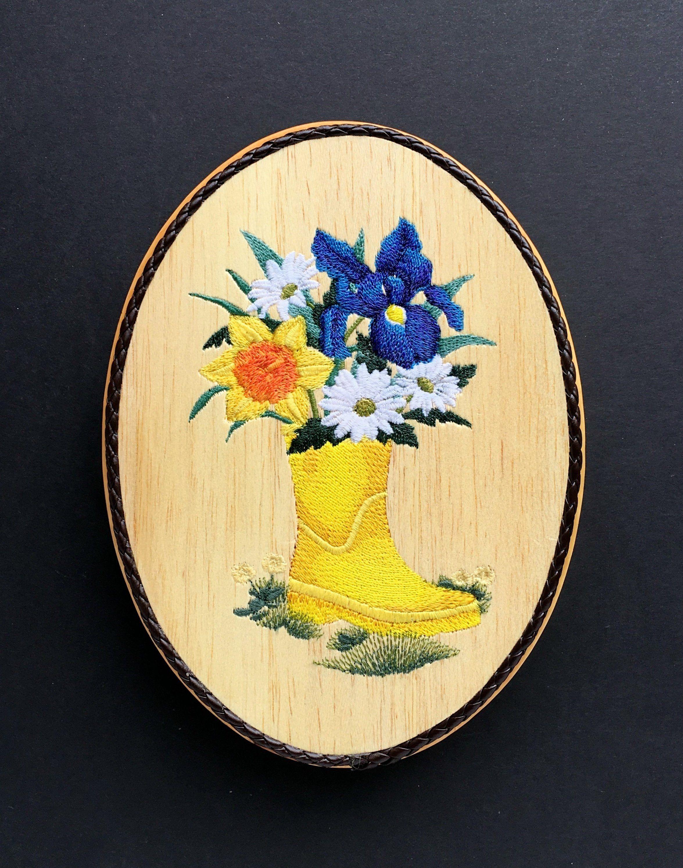 Yellow Rain Boot Wall Decor, Balsa Wood Embroidery Art, Rubber Boot ...