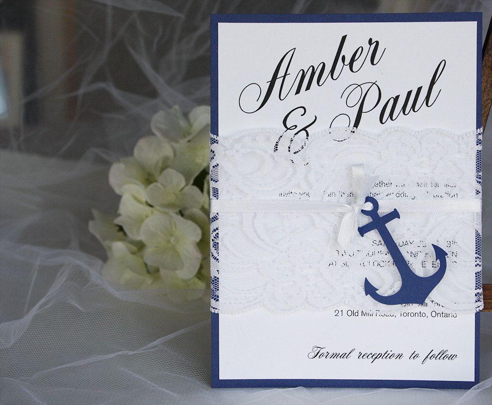 Nautical Wedding Invitations, Anchor Wedding Invitations, Navy Blue ...