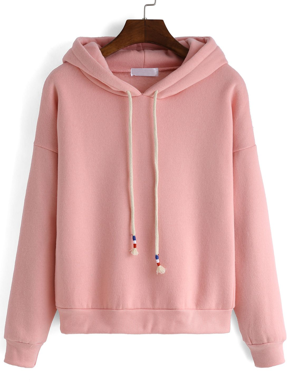 bc9c9a6caaf Hooded Drawstring Loose Pink Sweatshirt | Closet wish | Fashion ...