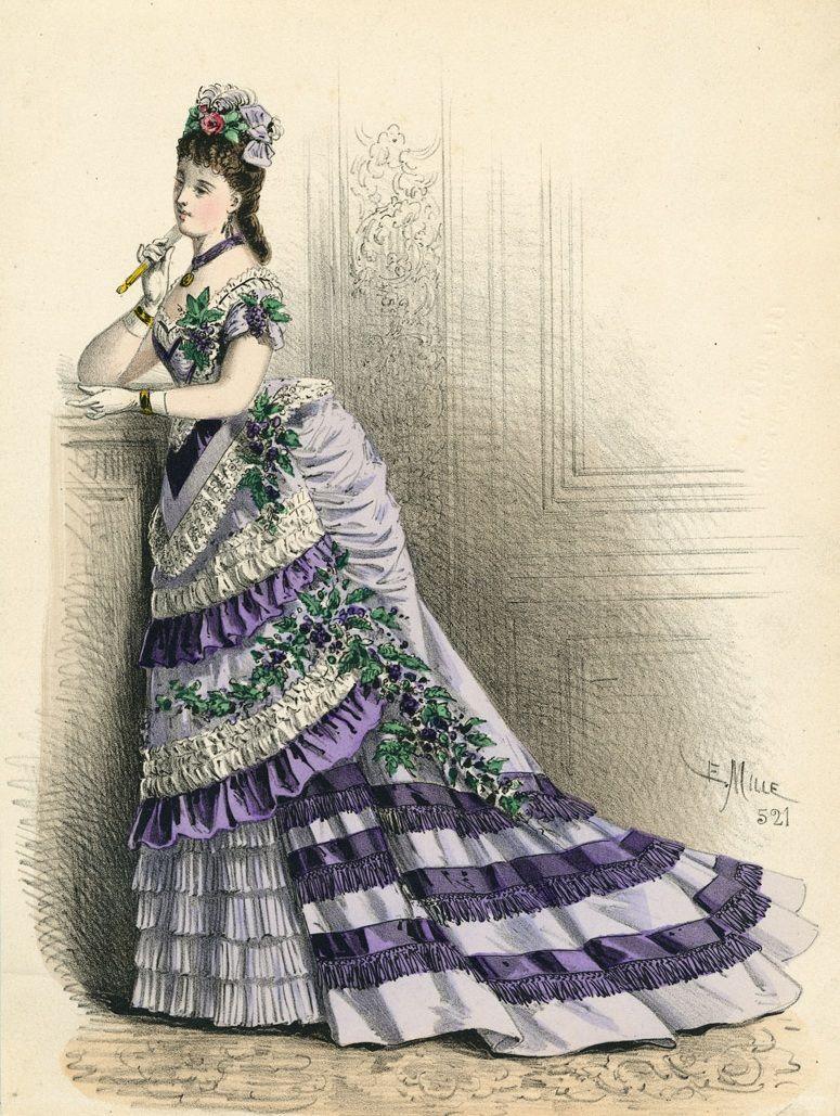 March, 1875 - Ballgown - L'Élégance Parisienne