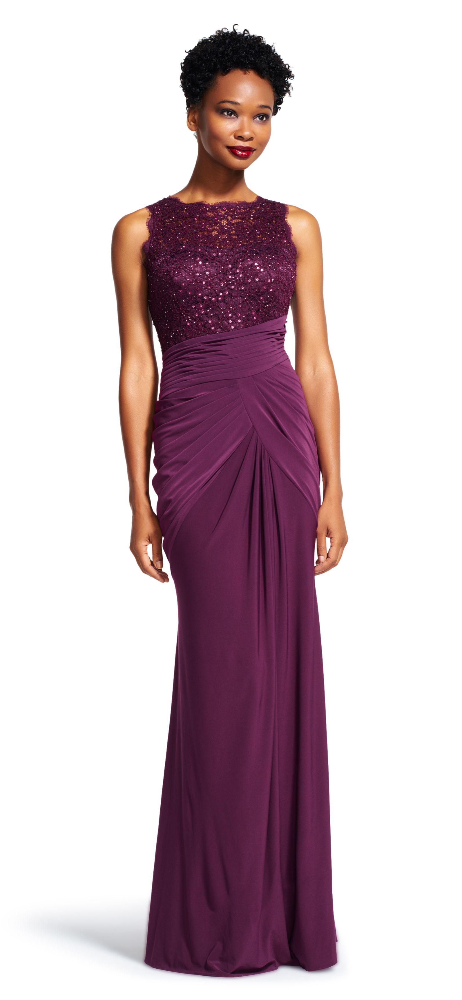 Sleeveless Draped Dress with Sequin Lace Bodice | Petite sizes ...