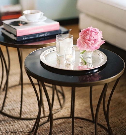 Love The Use Of Two Small Side Tables To Subsute A Coffee Table Very Cute Vignette Design Too Great Place For Candle Impressions Mini Flameless Candles
