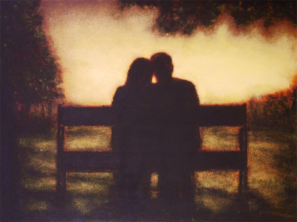 Romantic couple in love print sunset a romantic moment from chicago skyline art paintings from the artist this is the first seated couple ive