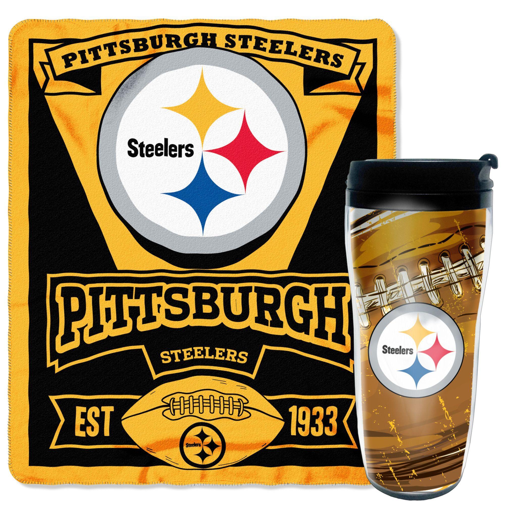 NFL Steelers 2 Piece Fleece Throw and Travel Mug Set | Products ...