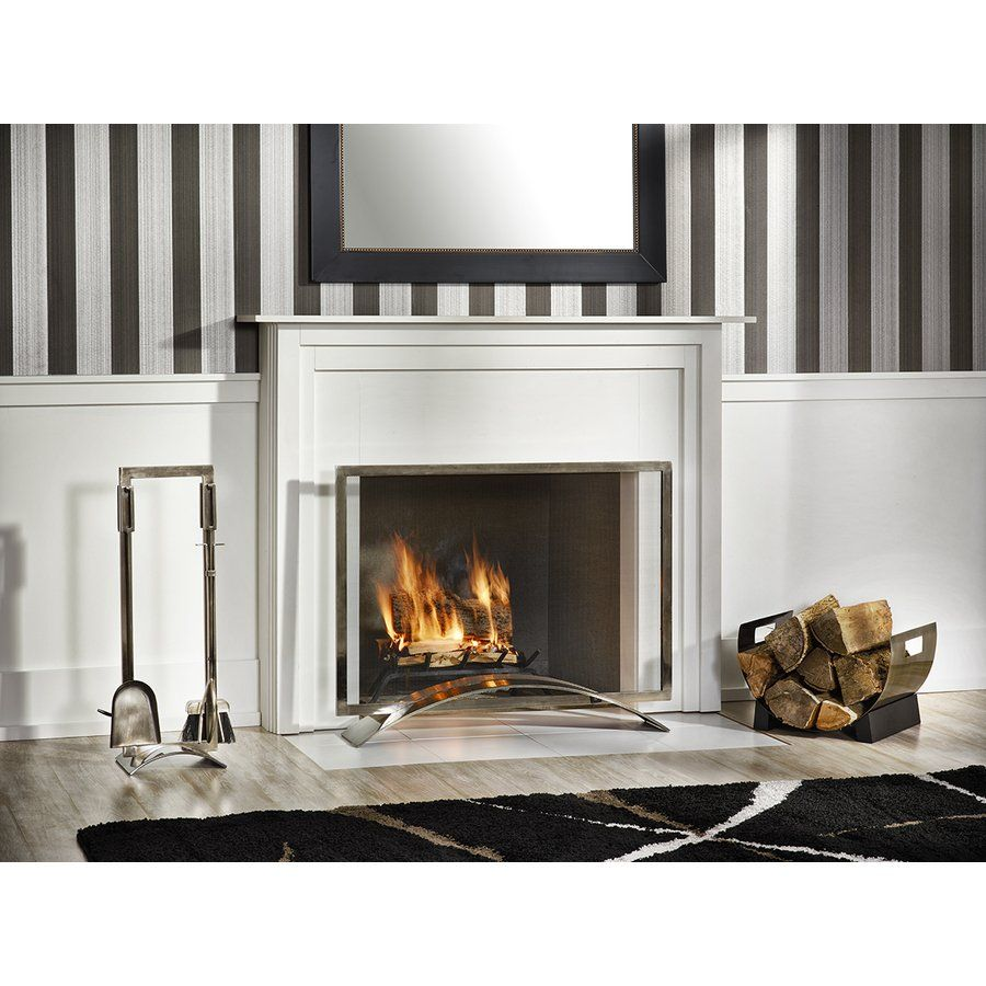 A modern fireplace screen prevents sparks from escaping