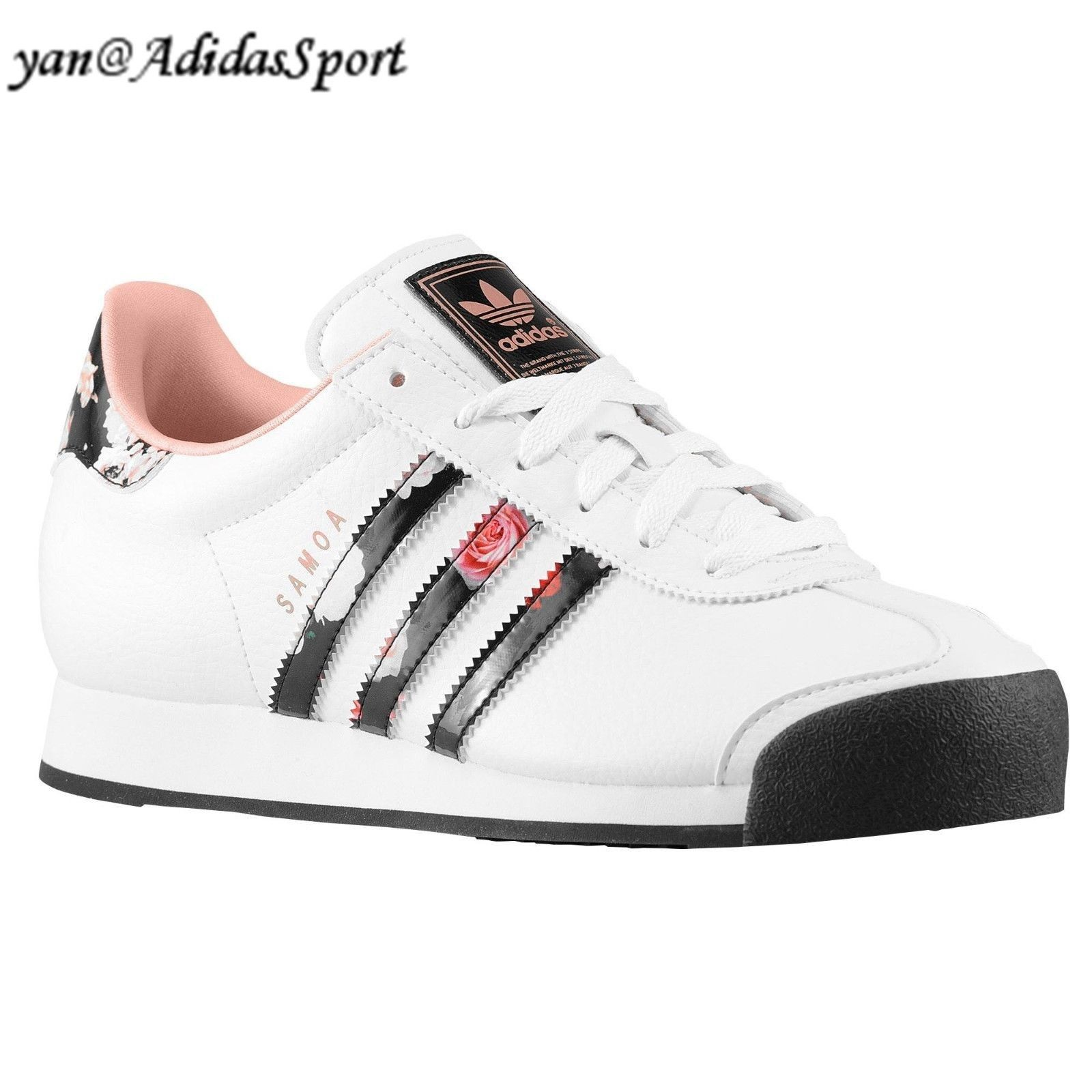 free shipping 83ce6 210fa Calidad Adidas Originals Mujeres Samoa Flor Imprimir Retro Zapatillas Blanco  Fundido Rose Negro Madrid Catalogo