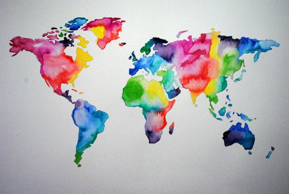 Watercolor map of the world abstract watercolor art pinterest watercolor map of the world abstract watercolor gumiabroncs Images