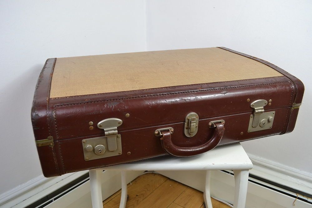 vintage 1930s victor luggage art deco english made brown leather canvas suitcase