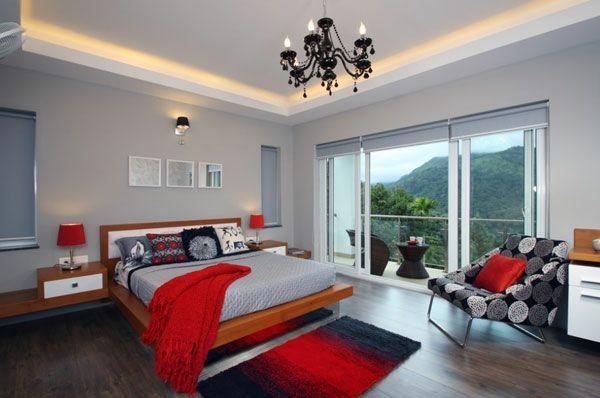 Schlafzimmer in Rot und Weiß rot gepolstert grau beleuchtung - schlafzimmer deko wei
