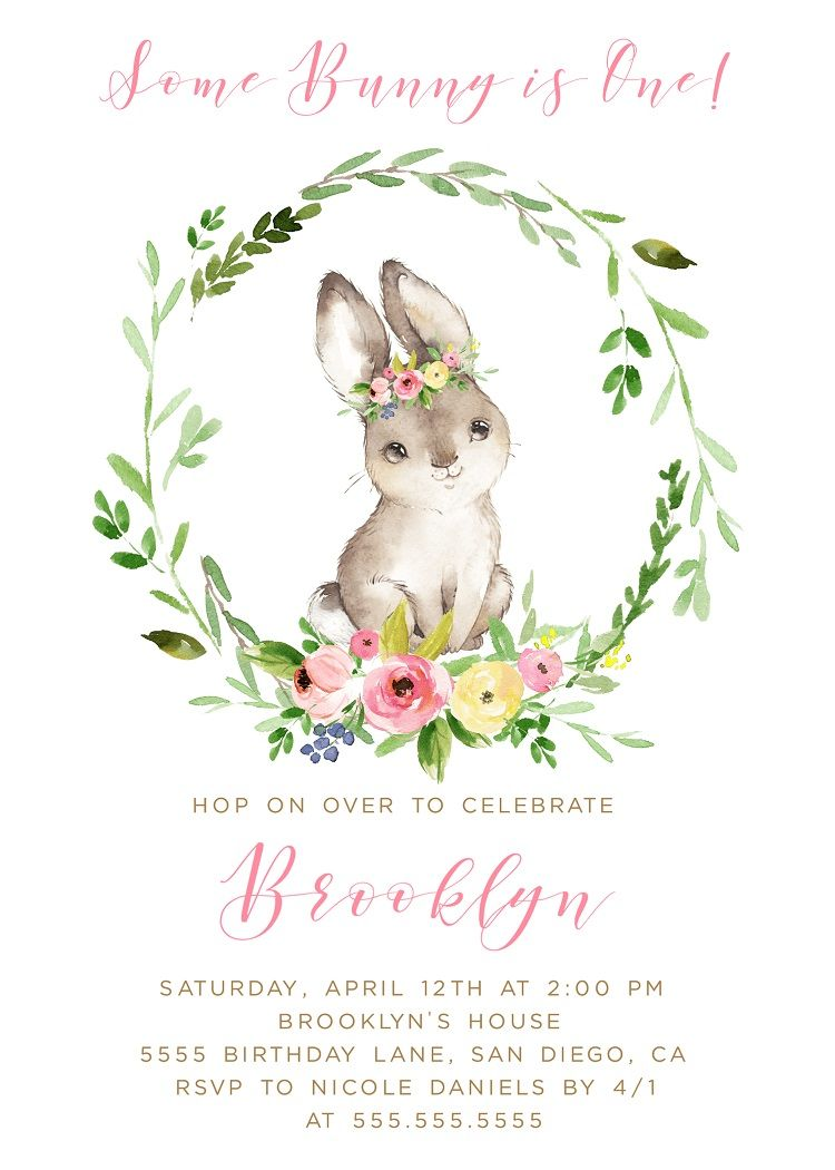 Bunny Birthday Invitation EDITABLE Invite First One Two