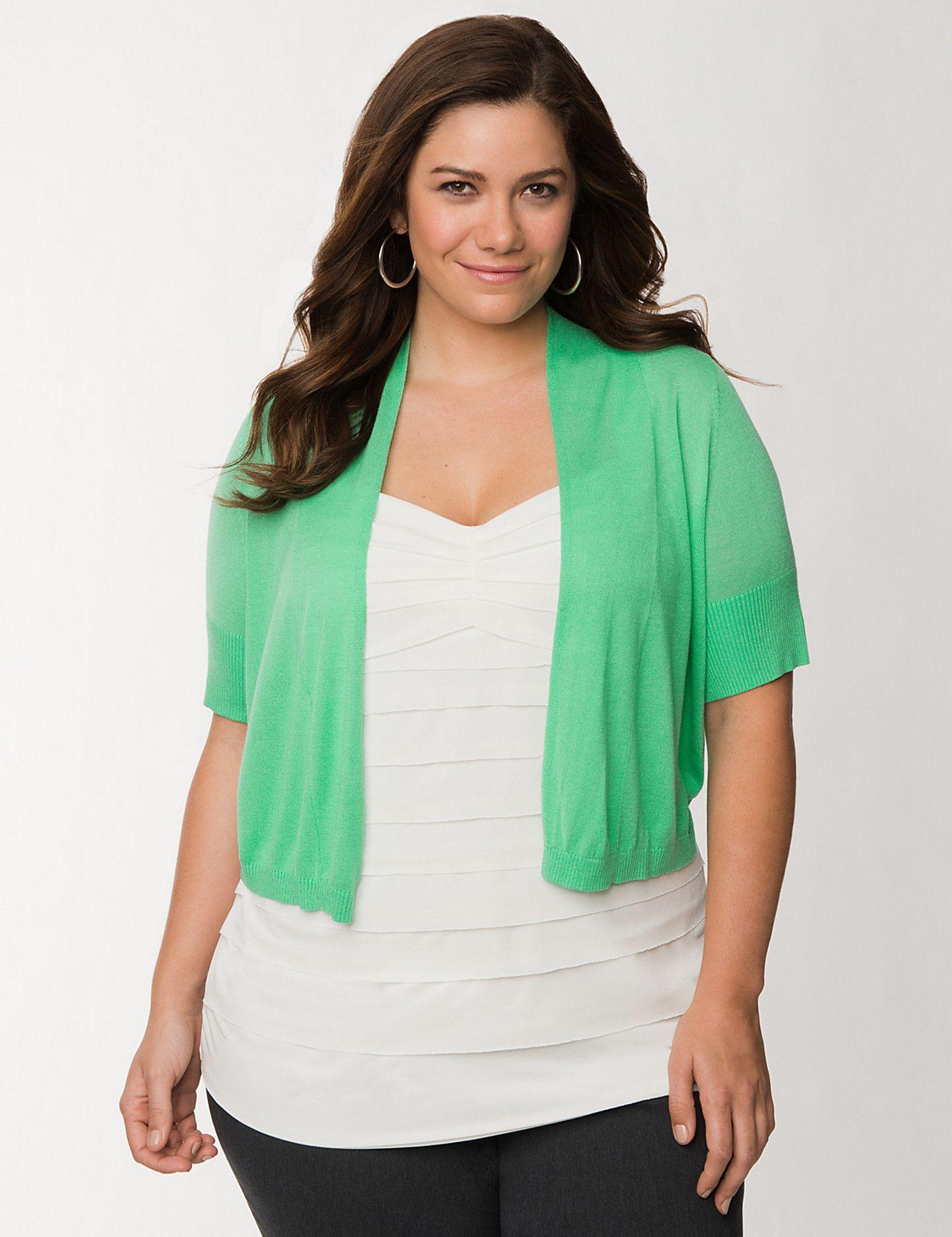 plus size short sleeve shrug sweater | lane bryant | emma meyer