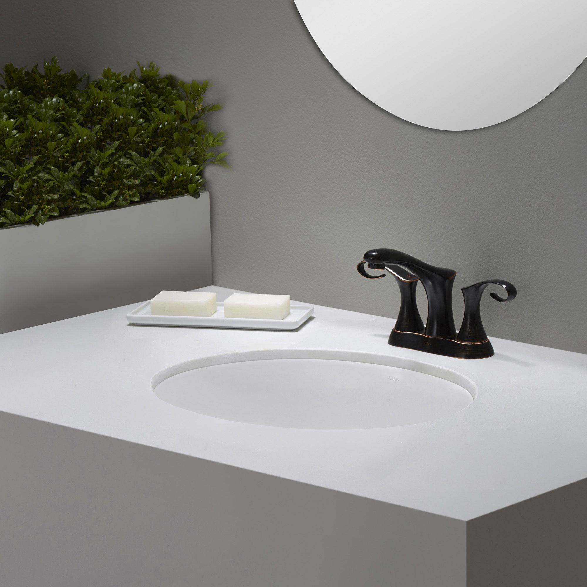 Kraus elavo oval undermount bathroom sink in with overflow