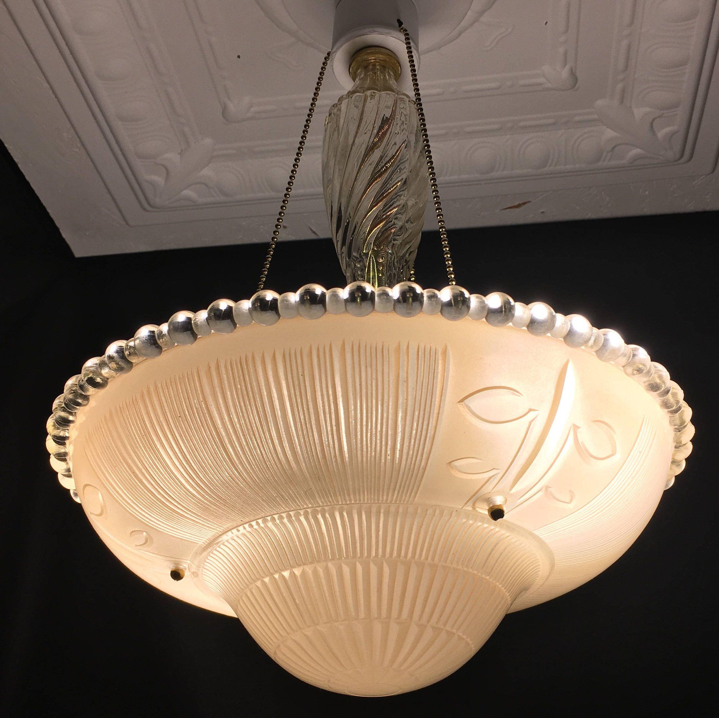 Vintage 3 Chain Peach Glass Art Deco Ceiling Light Fixture By Vintageclassicstyle On Ets Vintage Ceiling Lights Vintage Pendant Lighting Pendant Light Fixtures