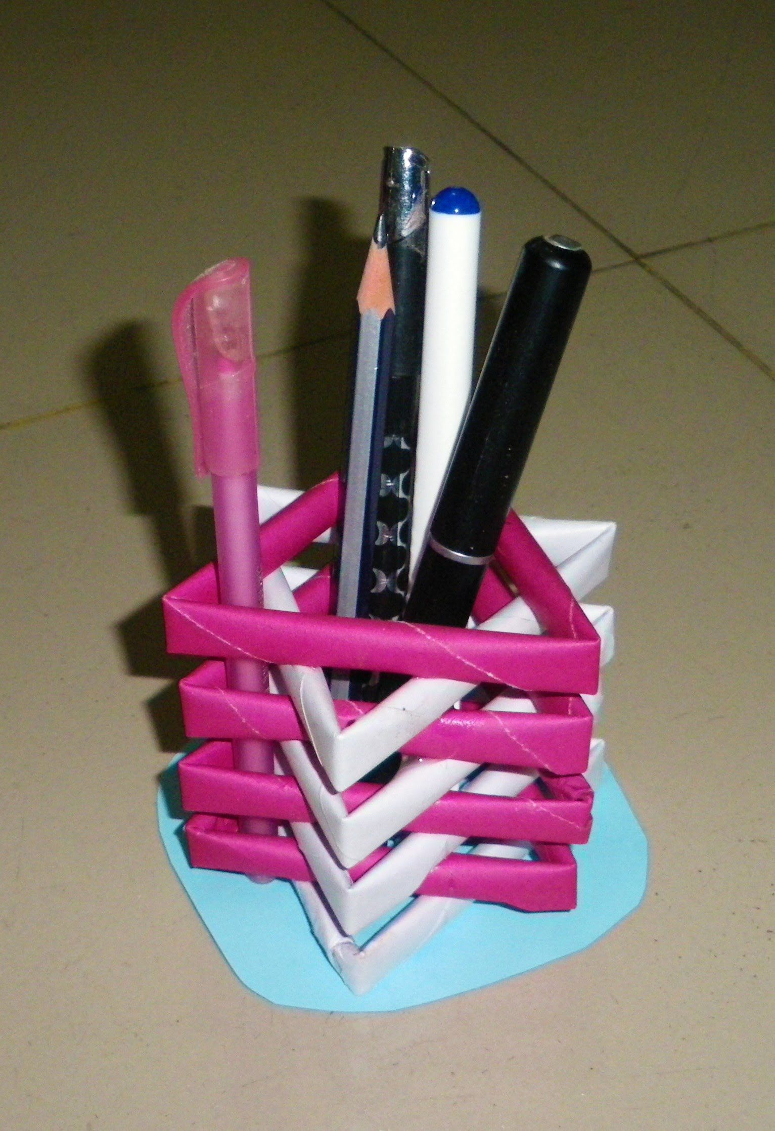 How to make a pen stand from waste material diy paper for Waste to useful crafts