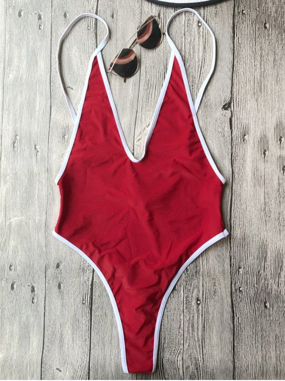 b878ac6b51  12.49 Contrast Piping High Cut One Piece Swimsuit - RED M
