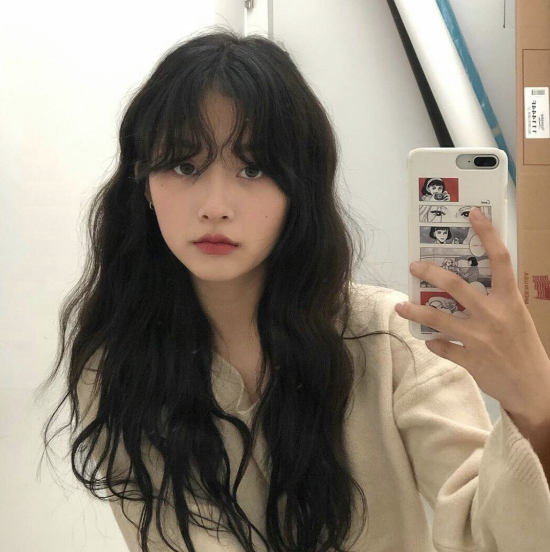 Fringe Black Hair In 2020 Korean Long Hair Hair Styles Black Wavy Hair