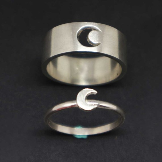 e34613f4ec Moon Promise Ring for Couples - Couple Jewelry, His and Her Ring Set,  Alternative Engagement Wedding
