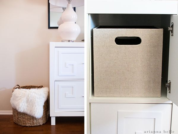 Console With Organizational Bins Arianna Belle One Room Challenge Reveal
