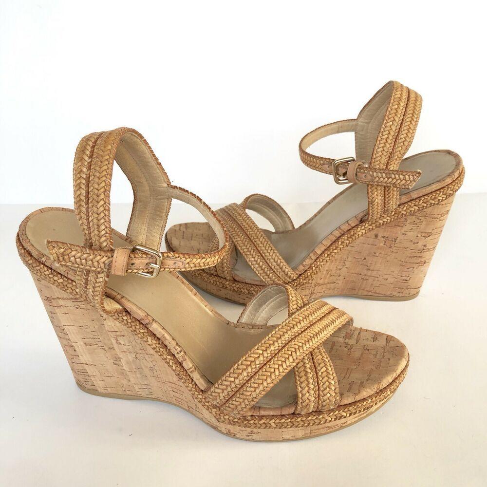 61fc9d90c3a Stuart Weitzman Minx Woven Cork Wedge Sandal 10.5M in Camel Retail ...