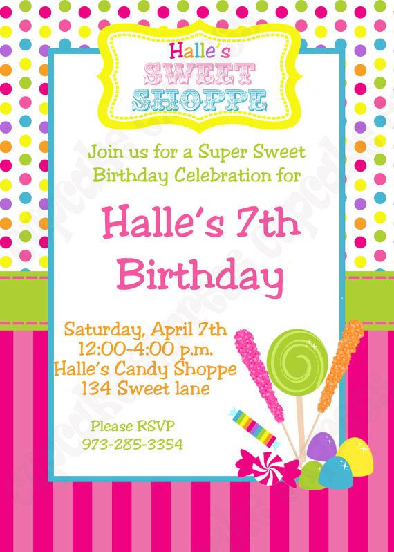Candy Shoppe Birthday party Invitations – 7th Birthday Party Invitation