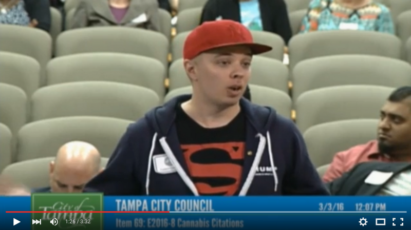 FacebookTwitterGoogle+PinterestLinkedInE-mail In this video I go before the Tampa City Counsel on March 3rd 2016 where they ruled in favor of decriminalizing weed 6 to 1. FacebookTwitterGoogle+PinterestLinkedInE-mail SHARE YOUR THOUGHTS comments