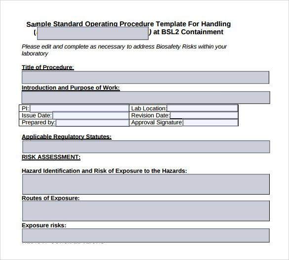 Sop Format  Sop Template    Standard Operating Procedure