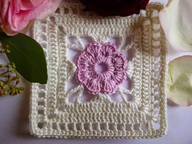 Square De Croche Com Flor Quadradinhos De Croche Quadrados De Croche Croche Passo A Passo