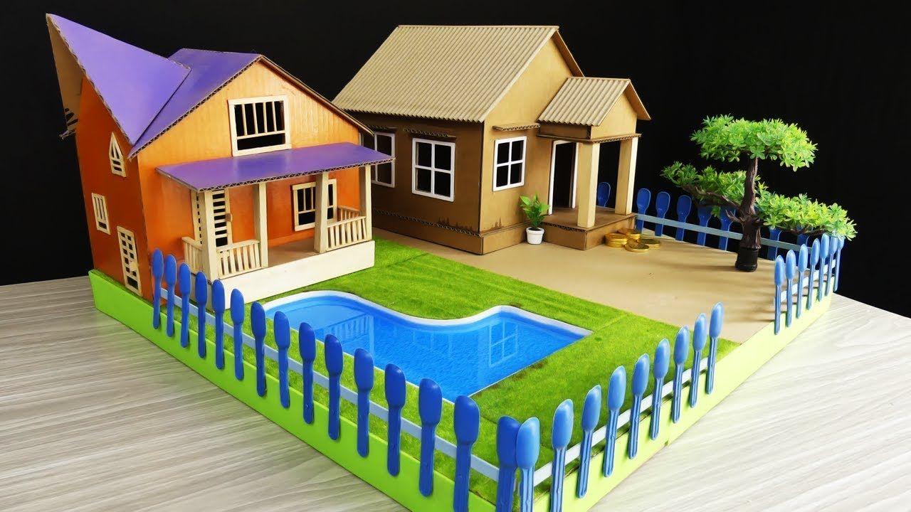 2 Diy Cardboard House With Swimming Pool Compilation Model 25 Cardboard House Diy Cardboard Swimming Pools