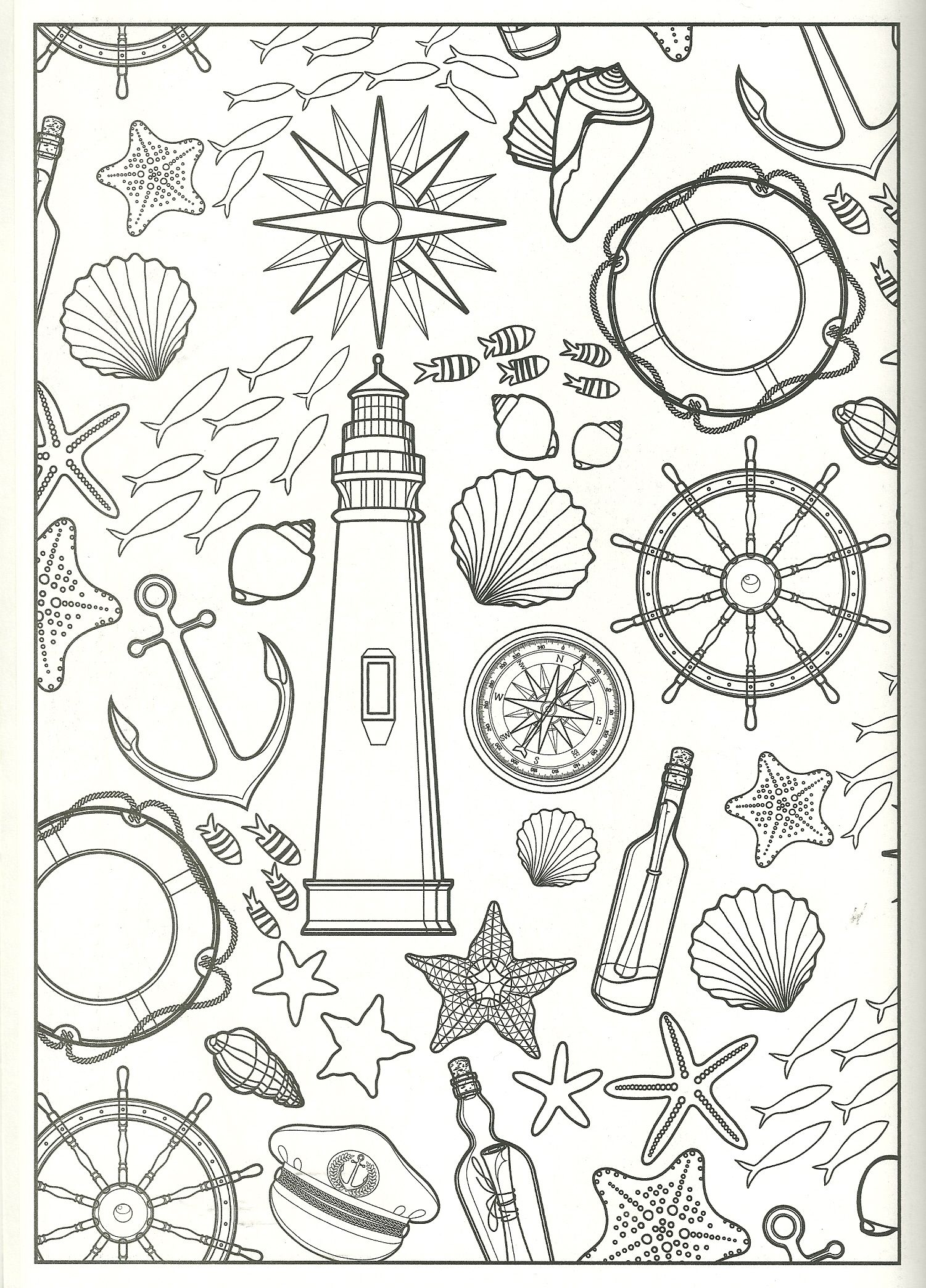 nautical collage coloring page | my coloring pages | Pinterest