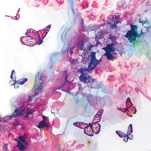 Serviette 'Schmetterling Lila'