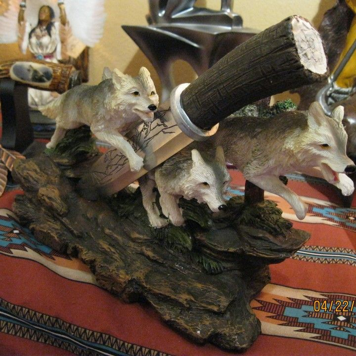 Wolf Pack Figurine w/ Fixed Blade Knife from Triple D Collectibles for $27.95 on Square Market