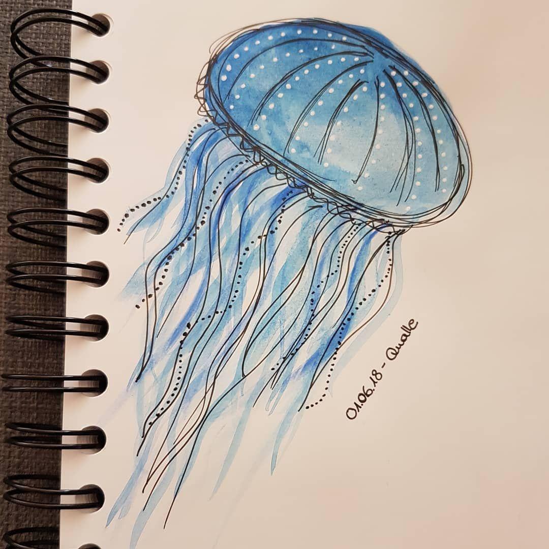 Kreativ Mit Aquarell Fineliner Und Gelstift Qualle Aquarelle