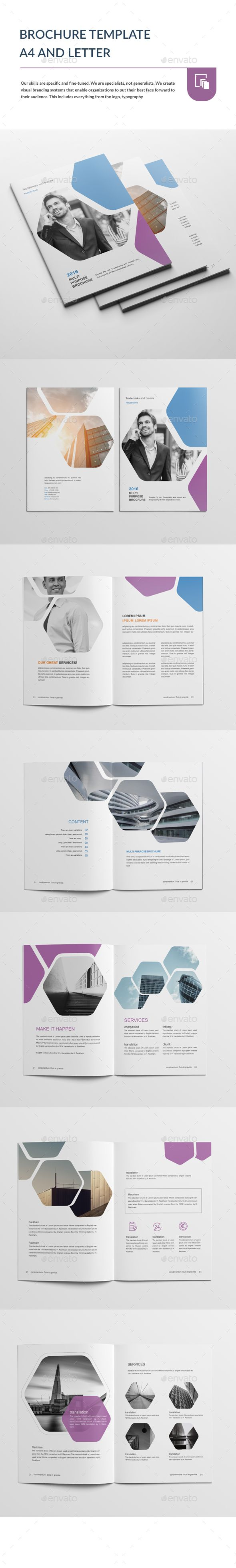 Brochure Template A4 and Letter | Folletos, Diseño editorial y Catálogo