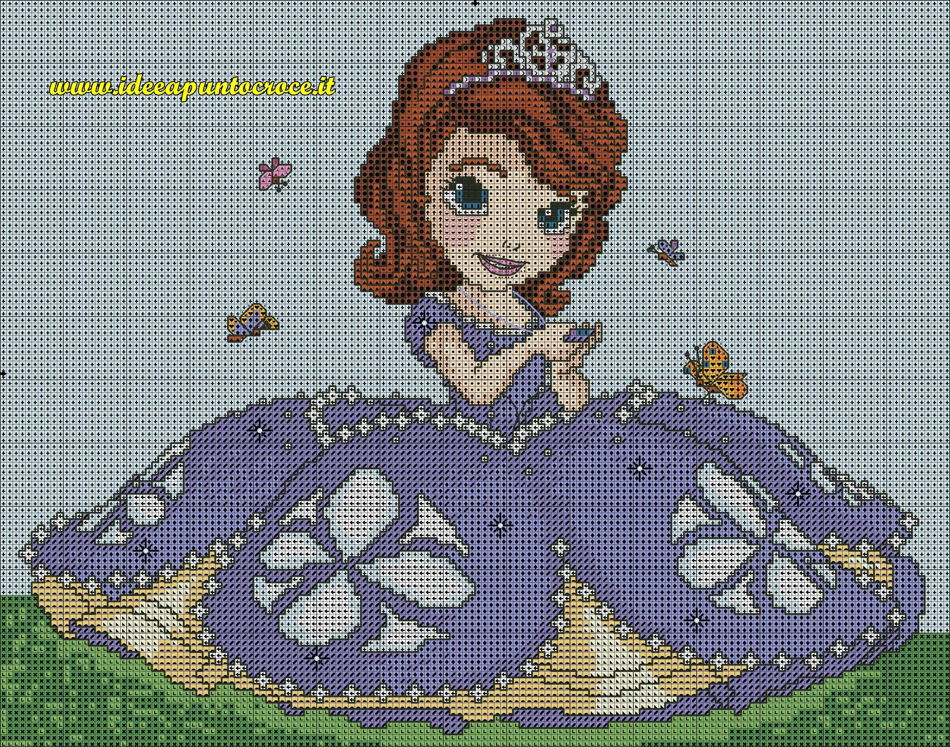 Schema Principessa Sofia Punto Croce Punto De Cruz Disney Hada De Punto De Cruz Estuches De Punto De Cruz