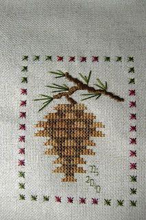 Bride's Tree SAL: November 2010 ...pinecone cross stitch